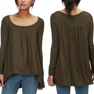 Free People Love Valley Gathered Long Sleeve Top L